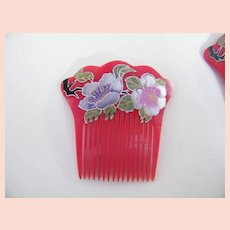 Japanese Hair Ornament..Long Combs..Hand Painted & Carved Lucite..Floral..Silver Paint..NOS..1970's-80's..2 Available