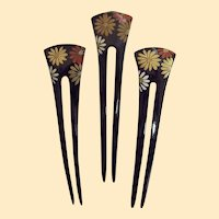 Japanese Chignon  Hair Ornament..Black Lasquer..4 Flat Flowers..Long and Skinny..NOS..1970's-80's