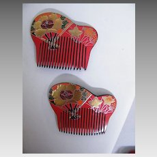 Japanese Hair Ornaments / Combs..Hand Painted & Carved Lucite..Floral..Red With Black Back..1970's-80's..NOS..2 Available