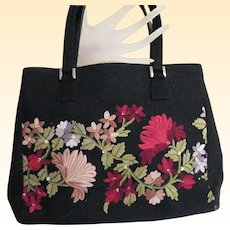 Striking ISABELLA FIORE Crewel Embroidered Wool Handbag Light Dusty & Dark on Black Ground
