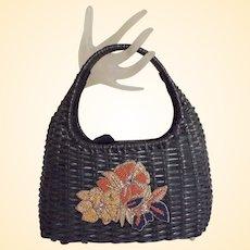 Black Woven Straw Handbag..Draw String Lining..Wood Beaded Floral Applique