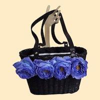 Black Straw Handbag With Vintage Blue Rose Trim..Double Drawstring Lining Of Blk / Wht Grosgrain & Pin Dots