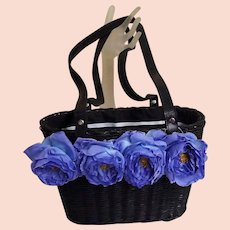 Black Straw Handbag With Vintage Blue Rose Trim..Double Drawstring Lining Of Blk / Wht Grosgrain & Pin Dots