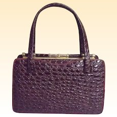 Brown Embossed Leather Faux Alligator Design Stand-UP Handbag