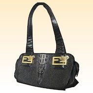 Black Embossed Leather Croc Head Handbag ..Kehzon Logo & Lining