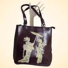 Japanese Brocade Padded Figures Design On Face Of Bag..Same Gold Brocade Lining..With Wine Vinyl And Suede