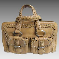 1f6ea4176e76 DKNY Camel Leather Handbag With Lacing Trim   Accents..Tote Style..Excellent