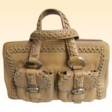 DKNY Camel Leather Handbag With Lacing Trim & Accents..Tote Style..Excellent Condition!