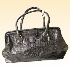 Doctors Bag / Satchel Black Embossed Leather DAME Handbags By David Mehler..Excellent Bag & Condition!!