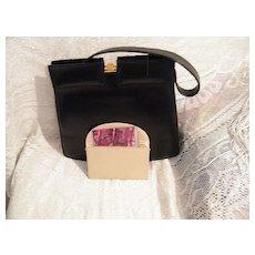 1950's Dofan Leather Handbag..Gold-Tone Clasp..Mirror & Case..Excellent Condition!