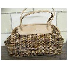 Etienne Aigner..Satchel.. Handbag / Purse...Hand Woven TWEED Look Fabric With Tan Trim..New Condition