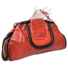 Large Soft Red Leather Envelope Clutch / Shoulder Bag..Black Leather Trim