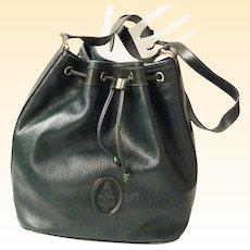 Hunter Green Mark Cross Drawstring Pebble Leather Bucket Feedbag Shoulder Bag..Excellent Condition!