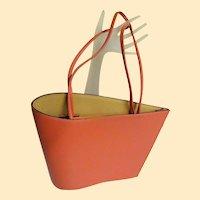 Designer Handbag..Modern Asymetrical..Leather..Soft Coral..Cleo & Patek..Excellent Condition