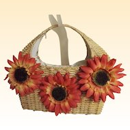 Natural Woven Straw Basket Handbag with 3 Big Vintage Orange Sunflowers..B / W Drawstring Lining