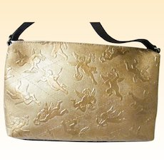 Piero Guidi Cupid / Putti Gold Embossed Cupid / Putti Shoulder Bag ..Brown leather Trim..Excellent Condition