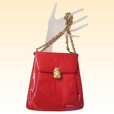 Prestige...Red Patent Leather Purse Wirh Convertible Gold Tone Link Chain...Excellent Condition!