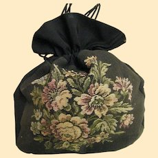Very Vintage Black Silk,  Canvas & Faille  Drawstring Handbag With Large Multicolor Floral Pattern On Front.
