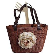 Brown Woven Straw Handbag..Large Velvet Flower..Double Drawstring Lining Of Black Grosgrain Ribbon & Black / White Pin Dot