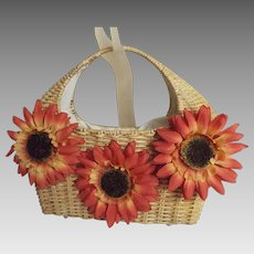 Natural Woven Straw / Ratan Handbag With Large Orange Sun Flower Faces...Cotton Draw String Lining In Black And White..NOS