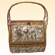 Straw World..Wicker Hamper Handbag With Sea Shells..Burlap Lined...Hialeah, Florida..Excellent Condition