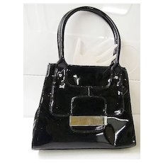 ALFANI... Black  Patent Leather Handbag... Wide Opening...Excellent Condition!