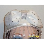 Rhinestone Studded White Straw Pill Box Hat with Center Straw Bow And Dangling Beads  Two Samples Available