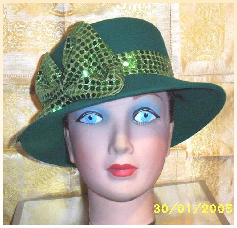 Green Wool Felt Cloche Hat With Wide Green Sequin Band Bow ...