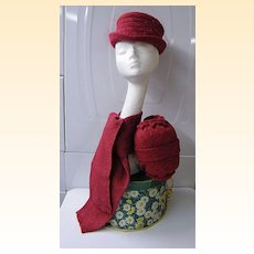 3 Piece Hat Set: Fedora..Scarf..Muff...Raspberry Wool Tweed..By Annette Samis Millinery..Excellent Condition..1950's