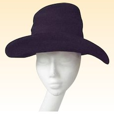 Patricia Underwood..Black Suede Corded High Crown..Wide Brim Bretton Hat