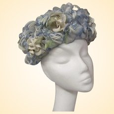 Blue And White All-Over Floral Hat From The 1960's.