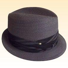 Men's Medium to Dark Gray Imported Genuine Hemp Fedora Hat..Narrow Brim..By Barcelona..Size 7 3/8