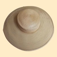 Beige Straw Picture Hat With Circles of Beige Horsehair Ribbon By Dynasty TV Millinery Designer B Michael New York