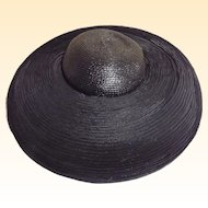 Black Mushroom Style Straw Picture Hat.. Horsehair Ribbon Tucking BY Dynasty TV Show Designer B Michael