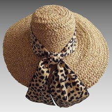 Natural Straw Picture Hat....Leopard Print Taffeta Band...High Crown