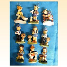 Hummel Like Ornaments...Set Of 9...Plastic...Hand Painted...Hong Kong..