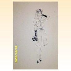 Original...Pen And Ink...Fashion Illustration. ..1930's/40's