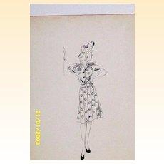 Original...Pen And Ink...Fashion Illustration...1930's-40's