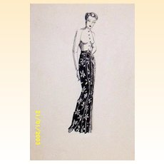 Original...Pen And Ink...Fashion Illustration...1930's/40's