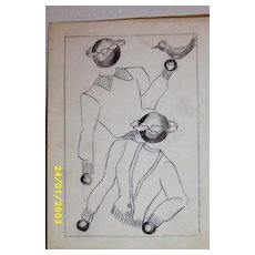 Original...Pen And Ink...Fashion Illustration...1930's...40's