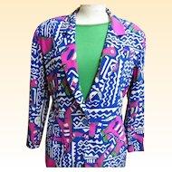 Kansai Yamamoto..Silk Abstract Print Jacket..See Coordinates...Size 8..Hong Kong..1980's