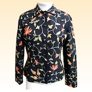 Crewel Embroidered Jacket..Wool..Noviello-Bloom..Size 6