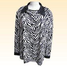 Jacket & Sleeveless Top Coordinate..Zebra Print..Sequins..Formal..Size X Large..Korea..Excellent Condition!