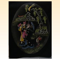 Japanese OVAL Painting..Strolling..Birds..Scenic..Landscape..Signed..One Of 5