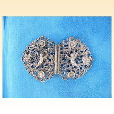 Very Vintage Large PUTTI Silver Plate Belt Buckle