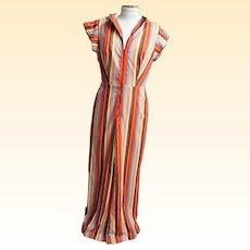 Jumpsuit With Palazzo Pants..Striped..Silky Interlock Knit..Open Back..Front Zipper & Belt. Size 9..1960's - 70's..USA