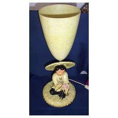 Retro..Oriental Lady Head Lamp With Cone Shaped Shade...Signed
