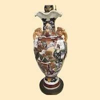 "Antique Japanese Satsuma Meiji 19th Century Signed Lamp..22"" Tall"