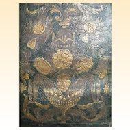 """Hand Tooled Leather Panel Made in Spain..Dark Green Ground..Very Vintage..29"""" Tall x 22.5"""" Wide"""