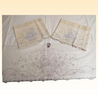 Antique Linen Floral Basket Embroidered Italian Top Sheet / 2 Pillow Cases /Set...New Old Stock